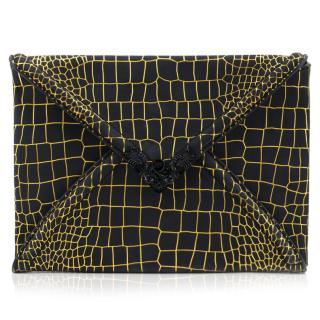 Alexander McQueen Black and Gold Envelope Clutch