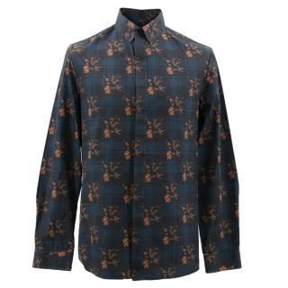 Qasimi Blue Flower Patterned Shirt