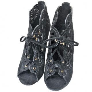 Nicholas Kirkwood Black Peep Toe Shoes