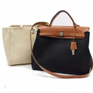 Hermes Herbag Biege and Black Canvas Shoulder Bag