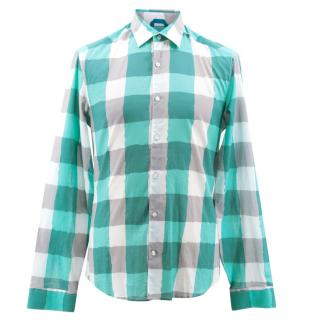Kenzo Blue, White and Grey Plaid Shirt