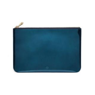 Mulberry Metallic Medium Flat Pouch in Midnight Blue