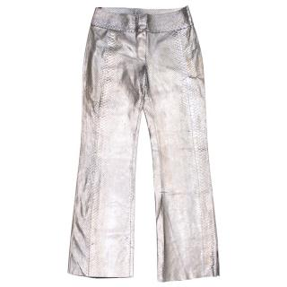 Fendi Metallic Snakesk Flare Trousers