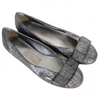 Salvatore Ferragamo Silver Flats