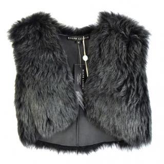 Ralph Lauren Grey Crop Fur Vest