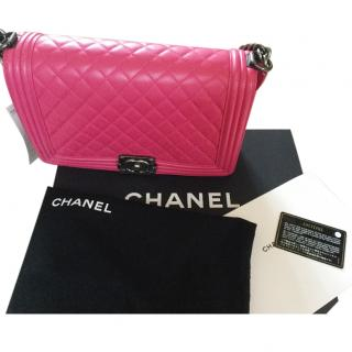 Chanel boy new medium size fuschia pink