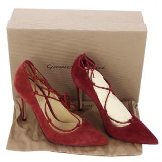 Gianvito Rossi Femi Lace-Up Burgundy Suede Pumps