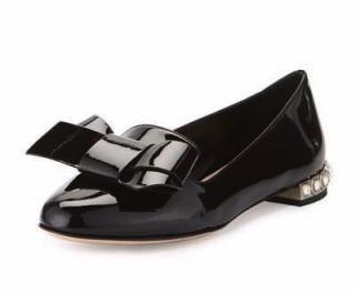 Miu Miu black bow diamante skimmers flat shoes