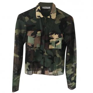 Christian Dior Zipped Front Camouflage Top