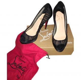 Louboutin Black Satin Heels