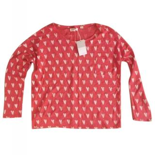 Chinti & Parker Red White Heart Print Linen Long Sleeved Top