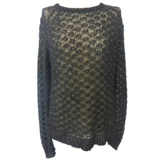 Theysken's Theory open-weave black pullover
