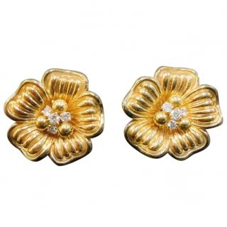 Gold and Diamond Flower earrings with papers