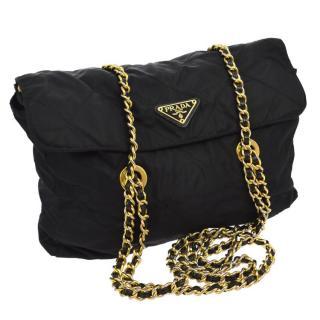 PRADA Logos Chain Shoulder Bag Purse Black Nylon  Vintage