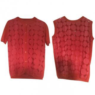 MaxMara Red Print Cardigan and Top Set