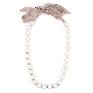 Lanvin White Silk Covered Faux Pearl Necklace