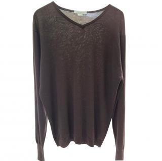 John Smedley Men's Brown Wool Sweater