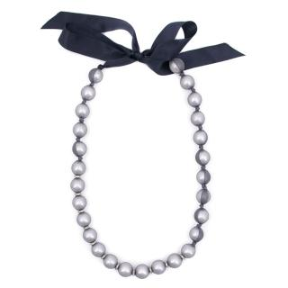 Lanvin Navy Blue Silk Covered Faux Pearl Necklace