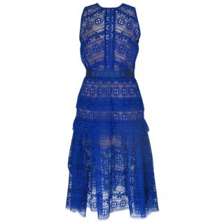 Self-Portrait Blue Sleeveless Lace Dress