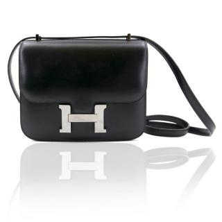 Hermes Constance Box Black Leather Bag