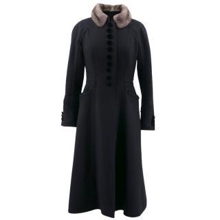 Louis Vuitton Black Coat with Grey Mink Collar