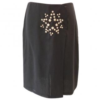 Jil Sander Black Skirt with Star Silver Stud Detail