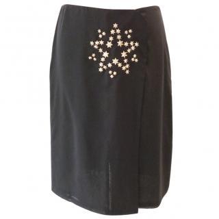 Jil Sander Black Skirt with Star Silver Stud Detail