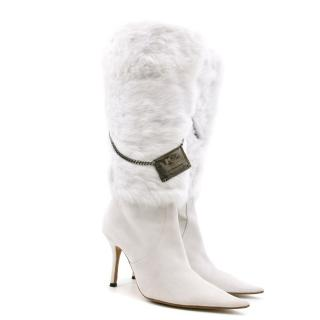 Luis Onofre White Rabbit Fur Heeled Boots