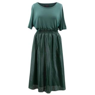 Malene Birger Green Top and Soft Leather Skirt Set