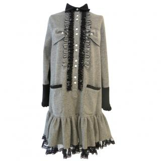 Ryan Lo grey wool dress with ruffle and diamante button detail