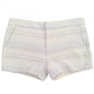 JOIE Merci jacquard cream, beige & pale grey patterned shorts