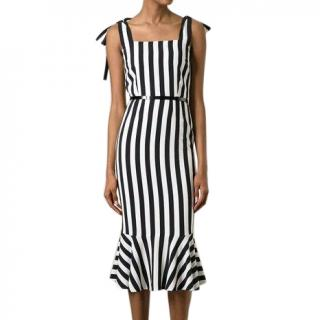 Dolce & Gabbana Black Striped Stretch-Silk Dress
