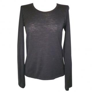 Maison Martin Margiela Black Wool Long Sleeve Top