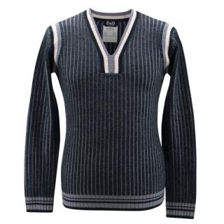D&G Blue Ribbed Jumper