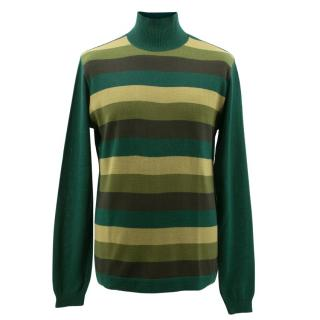 D&G Green Striped Turtle Neck Jumper