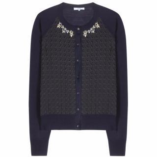 Erdem Blue Doroty Embellished Cardigan UK 14
