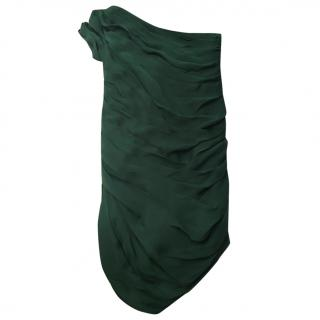 Halston Heritage green silk one shouldered dress