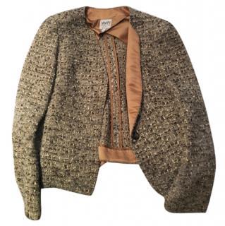 Armani beige wool tweed blazer