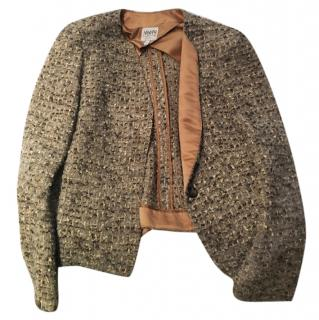 Armani beige wool tweed blazer