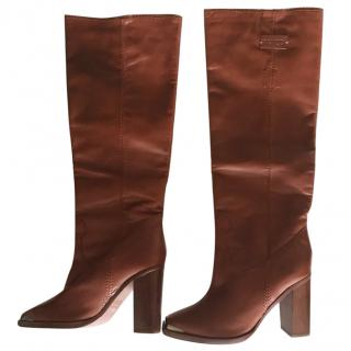 Keno brown leather long boots