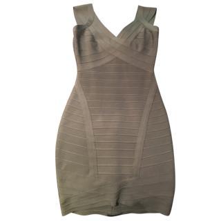 Herve Leger Short Grey Dress