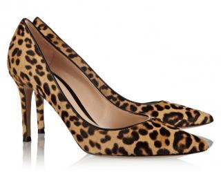Gianvito Rossi leopard-print calf-hair shoes