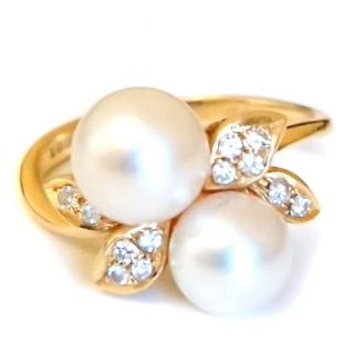 Pearl and Diamond Blossom Ring 18ct Gold