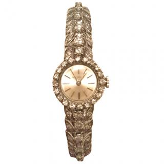 Jaeger Le Coultre vintage white gold and diamond watch