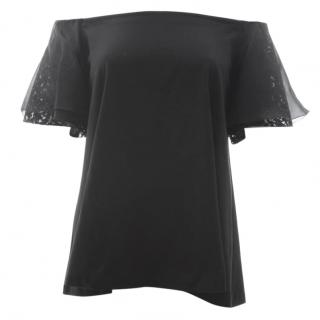 No.21 Silk-Blend Lace Sleeve Off Shoulder Top