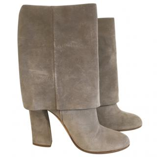 Casadei Grey Suede Fold Over Boots