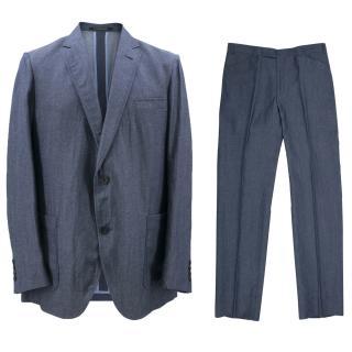 Richard James Savile Row Men's Blue Linen Suit