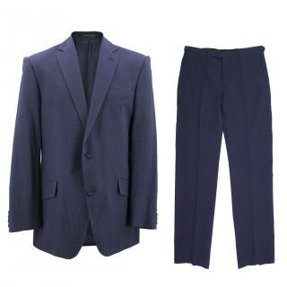Richard James Savile Row Men's Blue Seersucker Suit