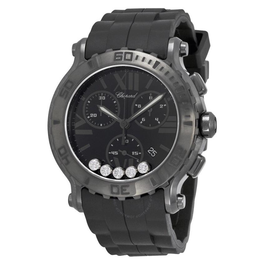 Chopard black rubber Happy diamond watch