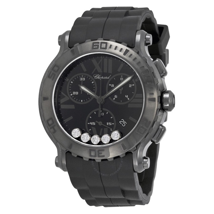 Chopard black rubber Happy diamond watch